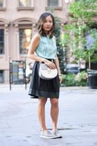 light blue striped blouse vintage top - light pink chloe drew bag Chloe bag