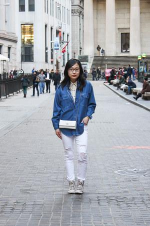 white polka dots American Apparel shirt - blue denim vintage shirt