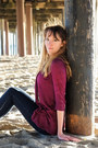 Skinny-forever-21-jeans-feather-top-cardigan-tribal-american-eagle-flats