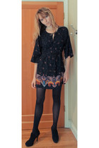 Lucky Brand dress - black tights - black heels
