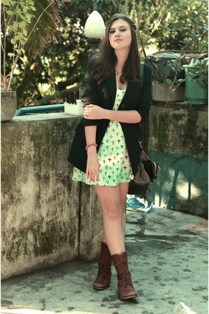 brown c&a boots - green made by me dress - black MNG blazer - dark brown c&a bag