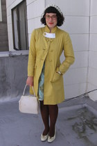 light blue vintage dress - mustard Chloe jacket - dark brown tights