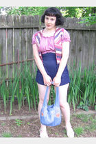 pink vintage crop top blouse - blue Forever 21 shorts - blue Underwing Designs o