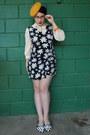 Mustard-vintage-hat-black-vintage-romper-ivory-vintage-blouse