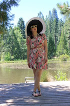 black San Diego Hat Company hat - salmon 2 piece 1940s vintage from Ebay romper