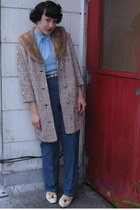 heather gray vintage coat - blue thrifted pants - ivory vintage from Ebay shoes