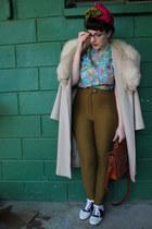 camel vintage coat - hot pink vintage hat - turquoise blue vintage blouse