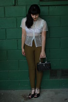 white vintage from Ebay blouse - black vintage purse