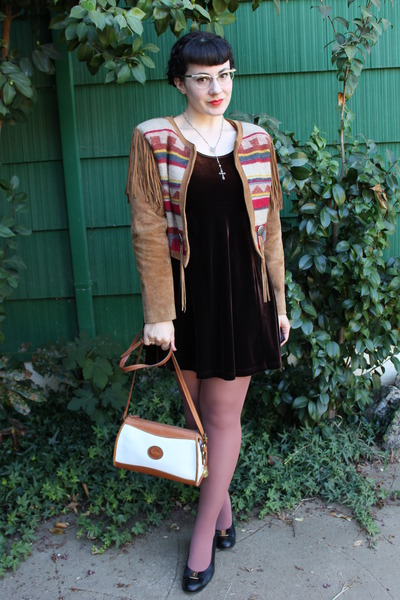 dark brown vintage dress - brown vintage jacket - white vintage purse