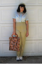light blue vintage hat - carrot orange vintage purse - light blue vintage blouse