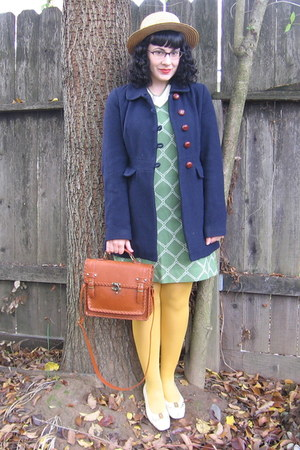 navy f21 jacket - olive green vintage dress - mustard tights