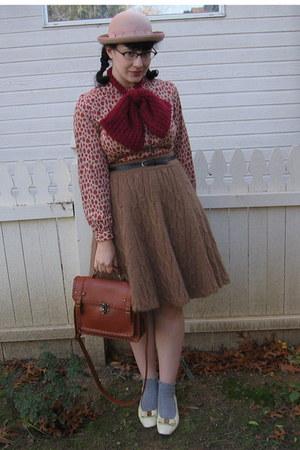 vintage dress - hat - scarf - H&M skirt