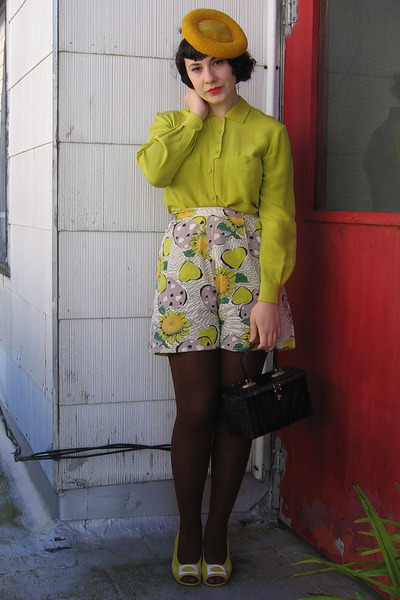 gold vintage hat - dark brown tights - green vintage shorts - chartreuse vintage