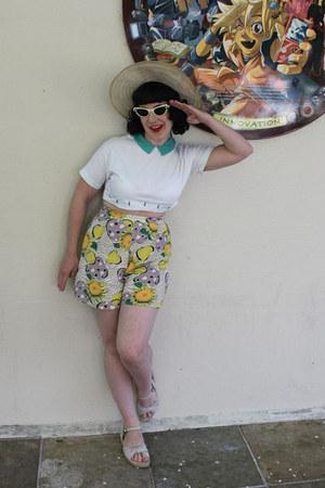 chartreuse vintage 1940s shorts - eggshell vintage 1930s hat