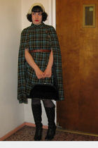 green vintage 60s cape coat - black John Frye boots - white vintage feather fasc