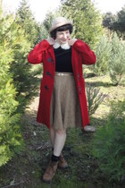 ruby red thrifted toggle coat - tan H&M skirt - black vintage blouse