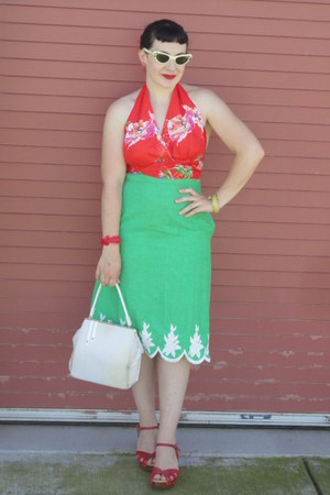 white vintage purse - white vintage sunglasses - green vintage skirt