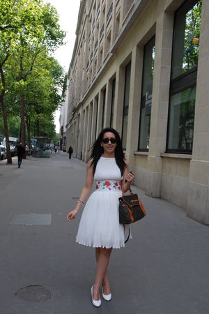 white Manoush dress - brown Louis Vuitton bag - white Marni shoes
