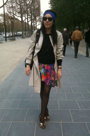 red Valentino dress - beige Burberry coat - black H&M shirt - black H&M tights -