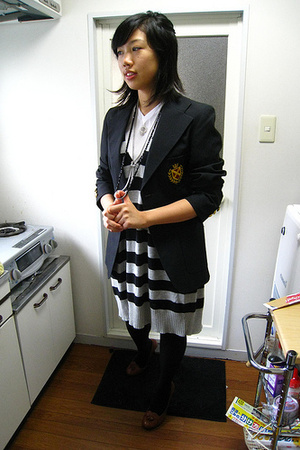 thrifted blazer - American Rag Cie sweater - Charles David shoes