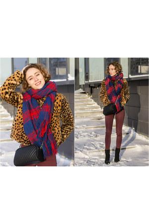 burnt orange Zara coat - navy H&M scarf - maroon H&M panties