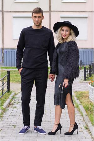 gray Stradivarius dress - black H&M hat
