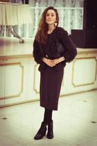 black Zara boots - dark brown H&M dress