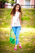 sky blue Zara jeans - white Zara blouse - hot pink Payless flats