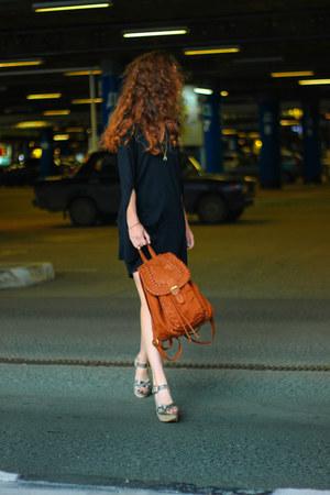 black Zara dress - burnt orange H&M bag