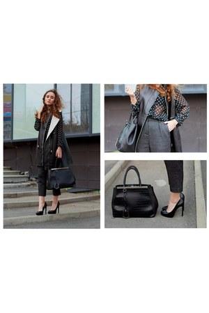 black kira plastinina bag - forest green Zara heels
