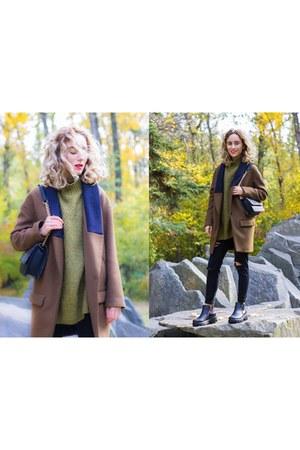 black Stradivarius jeans - brown Zara coat - olive green H&M sweater