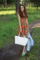 red BeFree dress - off white BeFree bag - aquamarine BeFree flats