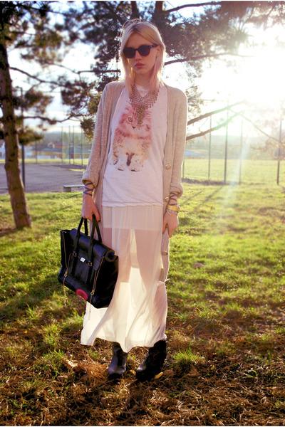 white sheer Ebay skirt - black phillip lim 31 bag - beige long H&M cardigan