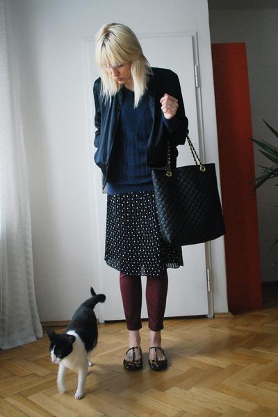 black tesco skirt - crimson Urban Outfitters jeans - black bomber Ebay jacket