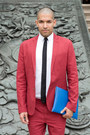 Brick-red-short-suit-asos-suit-white-american-apparel-shirt
