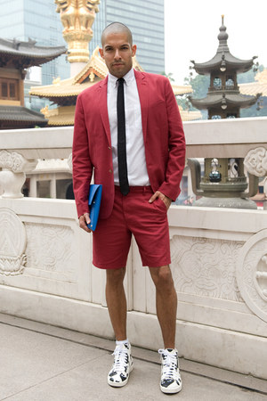 brick red short suit asos suit - white American Apparel shirt