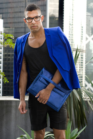 blue Six Lee blazer - blue Six Lee bag - black 2cm shorts