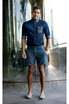 blue denim shirt Customellow shirt
