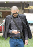 plaid shirt dior shirt - colored denim Levis jeans - plaid blazer hare blazer
