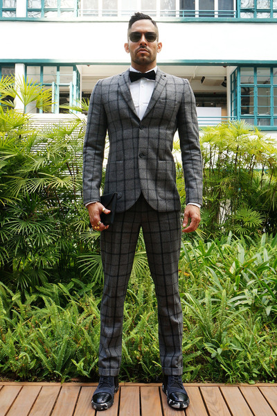 Men's Gray Checkered Suit Topman Suits, Black Squarestreet Shoes