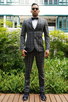 gray checkered suit Topman suit - black Squarestreet shoes