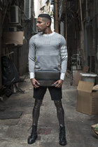 white Harrison Wong sweater - black army boots Diesel boots