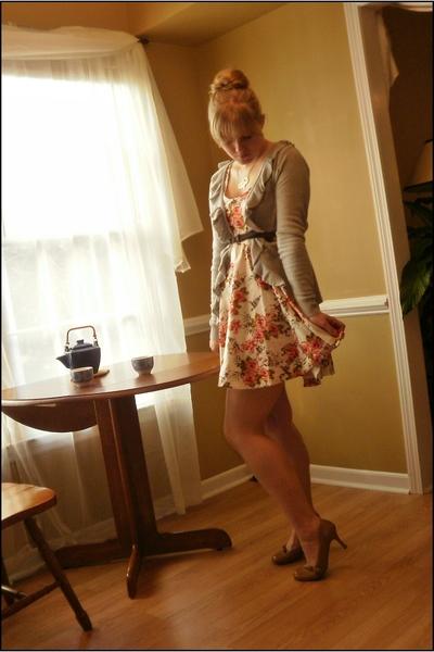 white Kimchi Blue dress - gray St Johns Bay cardigan - beige Xhileration shoes