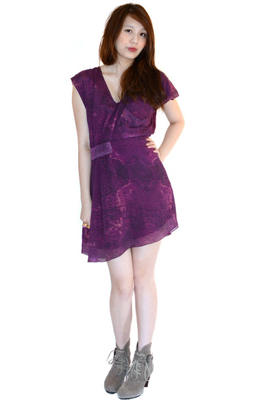 amethyst silk ManiQuin dress