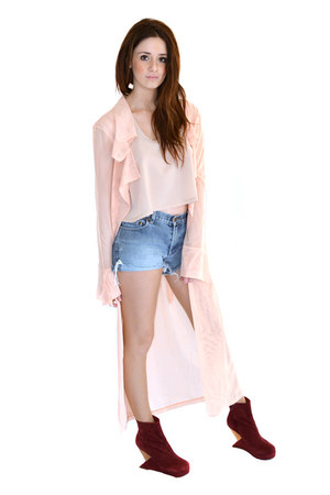 peach polyester UNIF jacket - neutral polyester cameo top