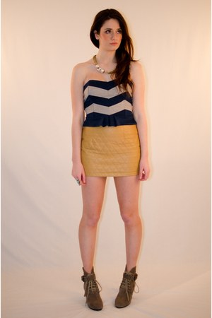 navy ponte bustier lucca couture top