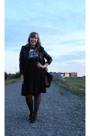 navy thrifted vintage dress - black fake leather H&M jacket