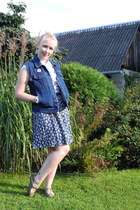 navy pleated Secondhand skirt - navy denim Secondhand vest
