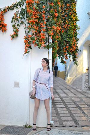 white Zara dress - off white Zara bag - black Zara sandals