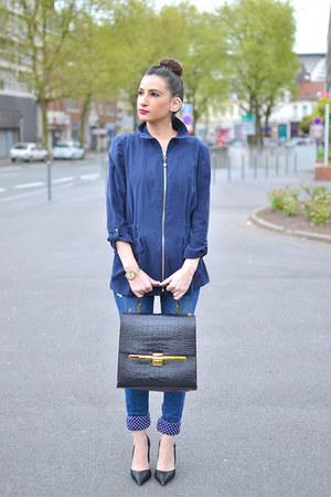 navy Zara jeans - black buylevard bag - navy Zara vest - black Zara heels